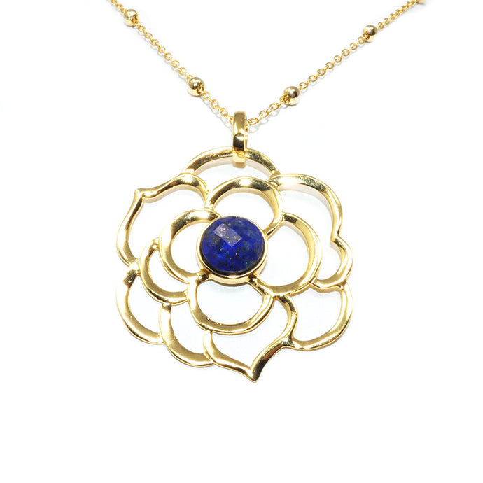 "Spiritual Lotus Lapis Lazuli Open Flower Pendant 30"" Gold Necklace"