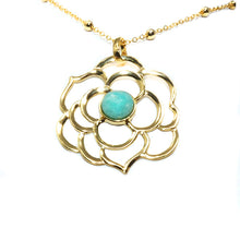 "Load image into Gallery viewer, Spiritual Lotus Amazonite Open Flower Pendant 30"" Gold Necklace"