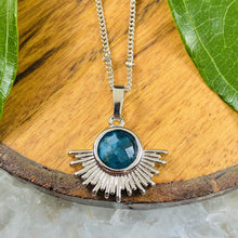 "Load image into Gallery viewer, NEW STONE! Blue Apatite Ray of Light Sunburst Manifestation Sun Pendant 18"" White Gold Necklace"