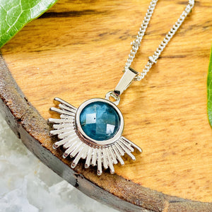 "NEW STONE! Blue Apatite Ray of Light Sunburst Manifestation Sun Pendant 18"" White Gold Necklace"