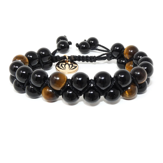 Double Adjustable Wrap Black Onyx & Tigers Eye 8mm Bead Bracelet