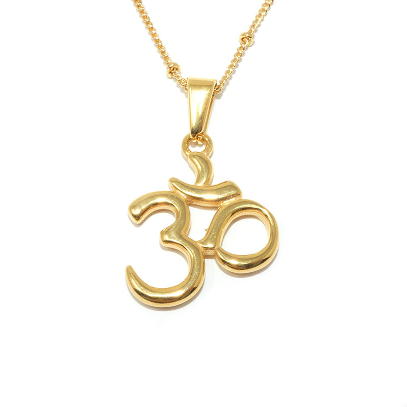 "Ohm Om Enlightenment & Presence Charm Buddhism Pendant 18"" Gold Buddist Necklace"