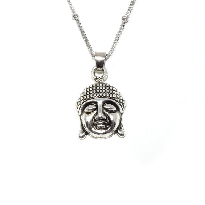 "Buddha Enlightenment & Presence Charm Buddhism Pendant 18"" White Gold Buddist Necklace"