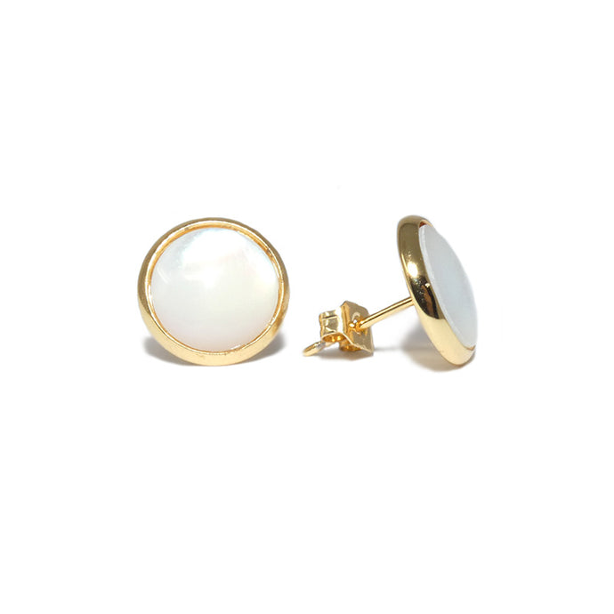 Perfect Circle Elegance Mother of Pearl Gold Stud Earrings