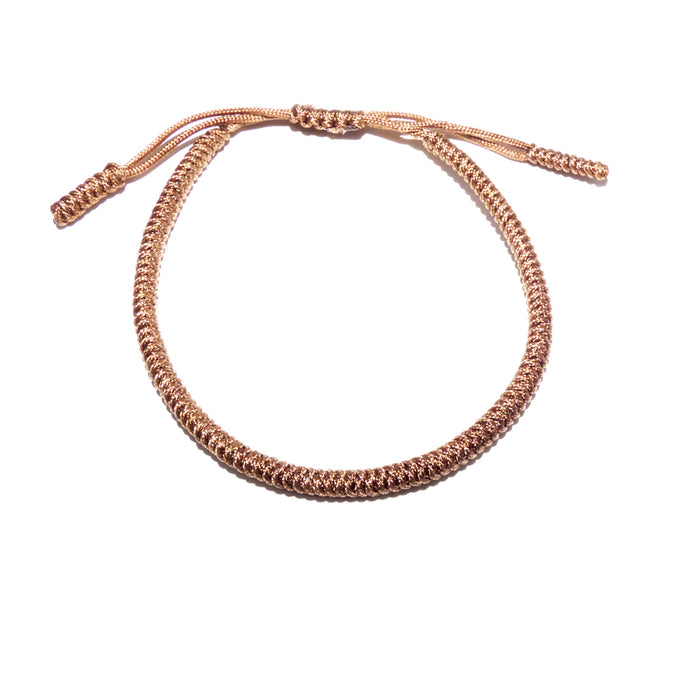 Tan Tibetan Buddhist Monk Braided Knot Lucky Bracelet