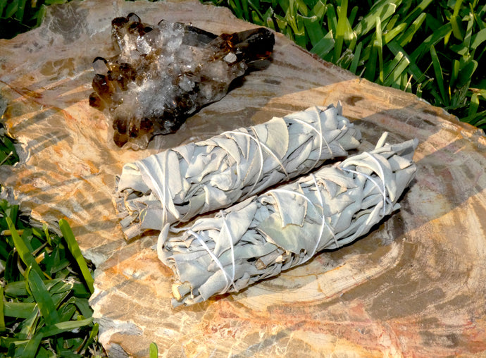 Smudge Two Bundles Organic California White Sage Sacred Native Herb Incense Spiritual Energy Cleansing Tool