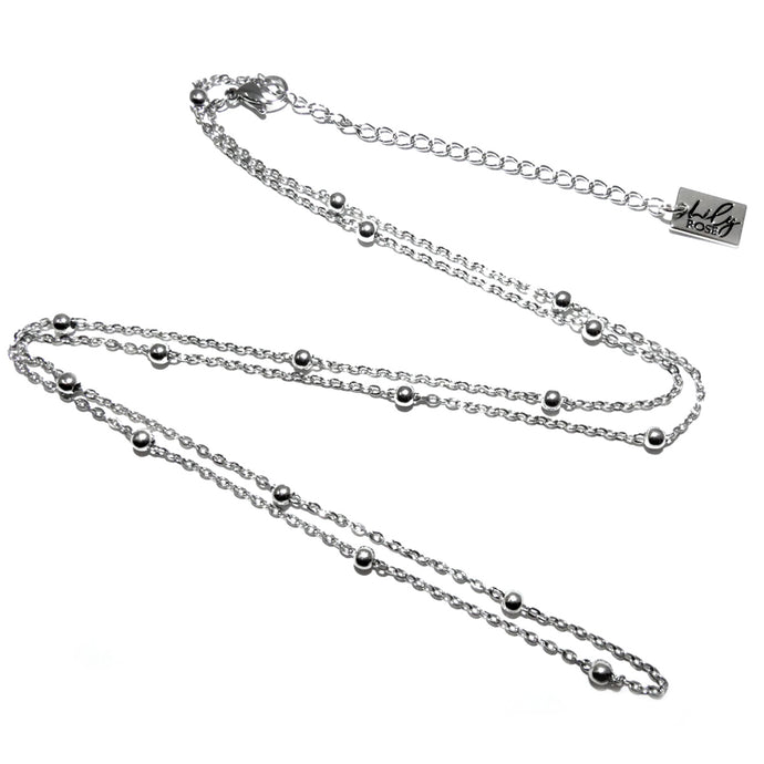 White Gold Vermeil Satellite Bead Cable Chain