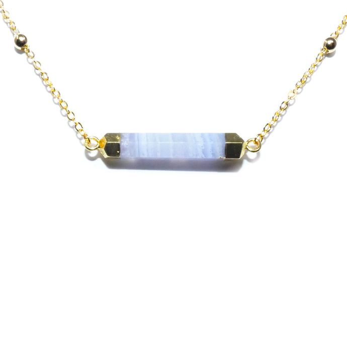 Minimalist Blue Lace Agate Rounded Bar Pendant Choker 14