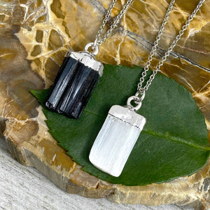 "Black Tourmaline Minimalist Protection Pendant 14"" + 2"" White Gold Necklace"