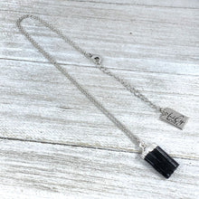 "Load image into Gallery viewer, Black Tourmaline Minimalist Protection Pendant 14"" + 2"" White Gold Necklace"