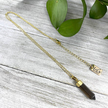 "Load image into Gallery viewer, Smoky Quartz Purification & Invisibility Cloak Mini Point Tower Pendant 18"" Gold Necklace"