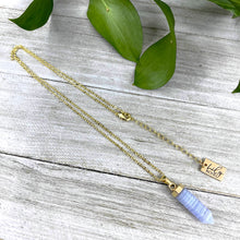 "Load image into Gallery viewer, Blue Lace Agate Pain Relief & Serenity Mini Point Tower Pendant 18"" Gold Necklace"