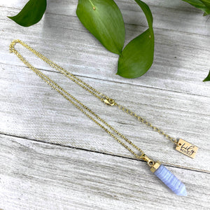 "Blue Lace Agate Pain Relief & Serenity Mini Point Tower Pendant 18"" Gold Necklace"
