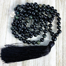 Load image into Gallery viewer, Limited Edition Rainbow Obsidian Discovery & Healing 108 Hand Knotted Mala with Tassel Necklace