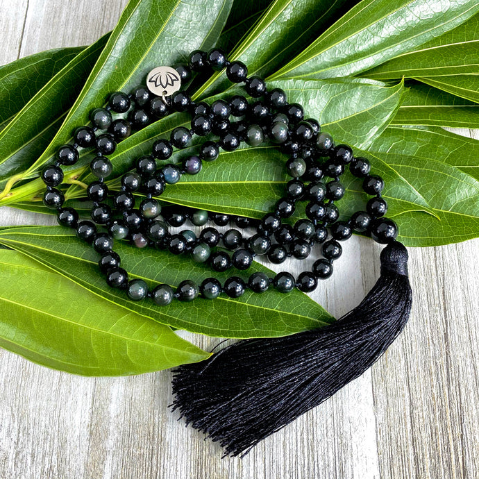 Limited Edition Rainbow Obsidian Discovery & Healing 108 Hand Knotted Mala with Tassel Necklace