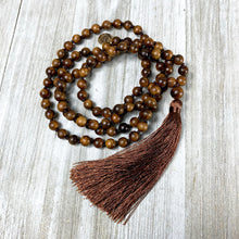 Load image into Gallery viewer, Rosewood Spirituality & Compassion 108 Hand Knotted Mala with Tassel Necklace