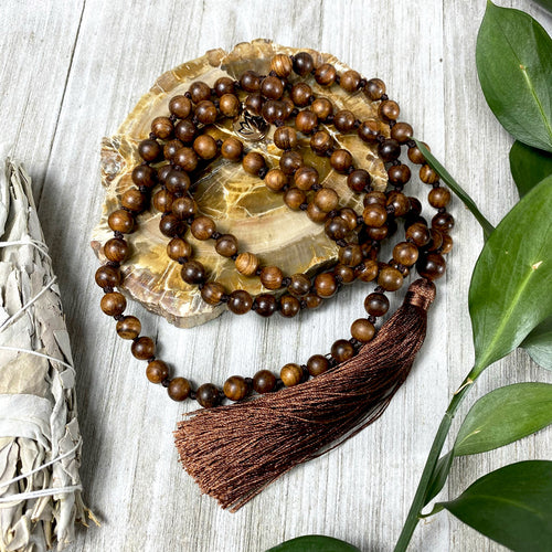 Rosewood Spirituality & Compassion 108 Hand Knotted Mala with Tassel Necklace