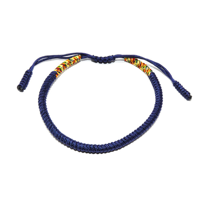 Navy Blue Tibetan Buddhist Monk Braided Knot Lucky Bracelet
