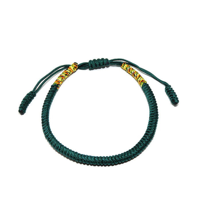 Everest Green Tibetan Buddhist Monk Braided Knot Lucky Bracelet