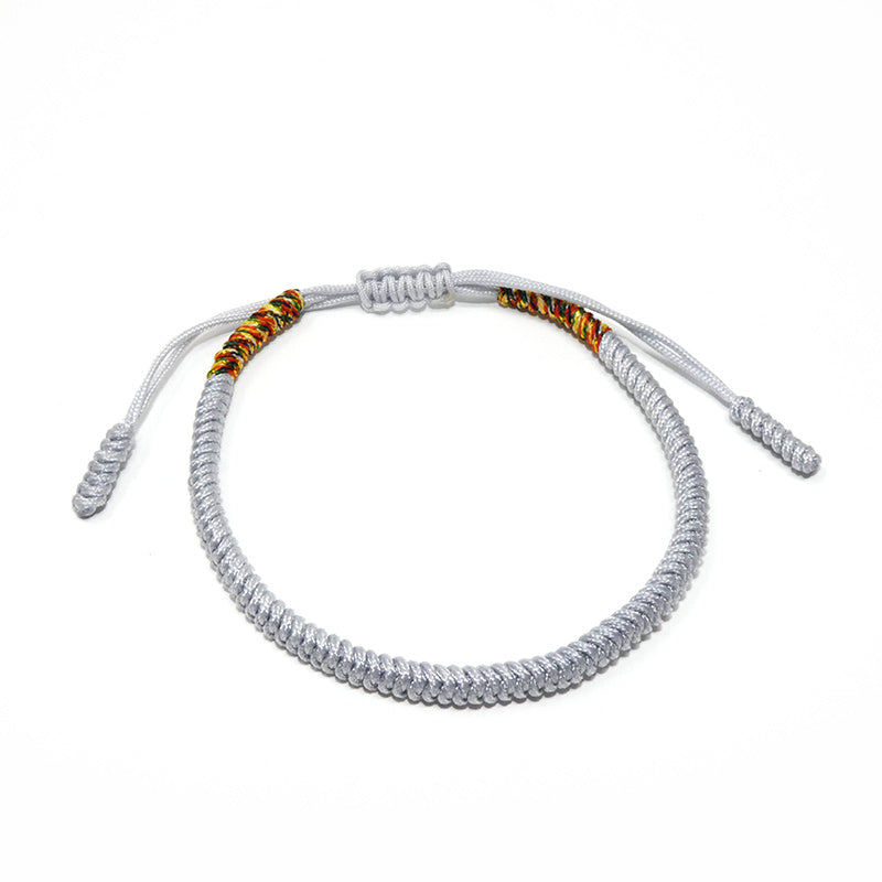 Silver Grey Tibetan Buddhist Monk Braided Knot Lucky Bracelet