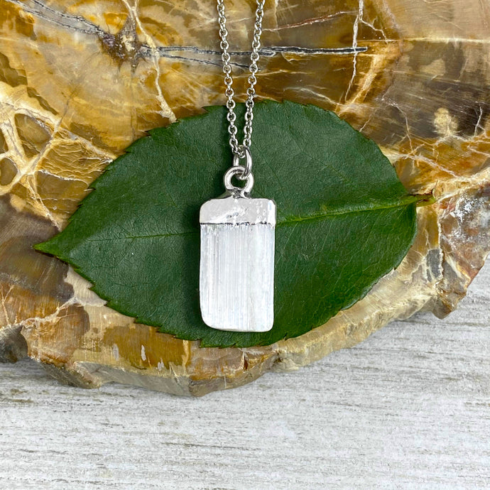 "Selenite Minimalist Angelic Guidance Pendant 14"" + 2"