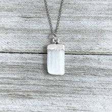 "Load image into Gallery viewer, Selenite Minimalist Angelic Guidance Pendant 14"" + 2"" White Gold Necklace"