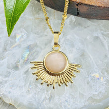 "Load image into Gallery viewer, NEW STONE! Sunstone Ray of Light Sunburst Confidence Sun Pendant 18"" Gold Necklace"