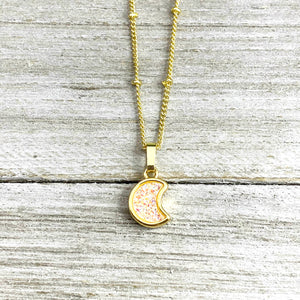"Sweet Mini Moon Aura Quartz Druzy Gemstone Minimalist Pendant 14"" + 2"" Gold Necklace"