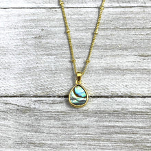 "Load image into Gallery viewer, Abalone Minimalist Teardrop Soothing Pendant 18"" Gold Necklace"