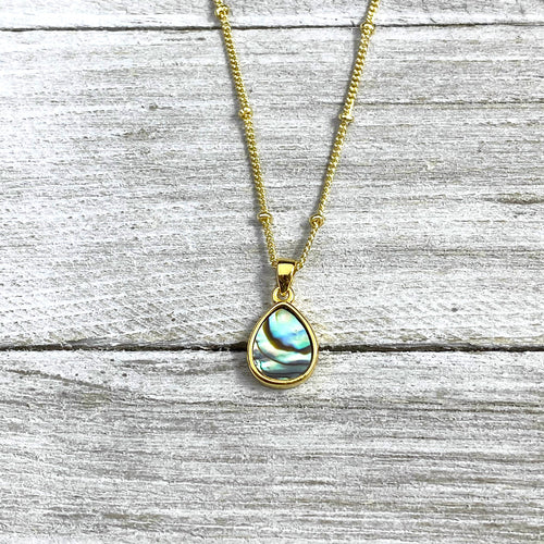 "Abalone Minimalist Teardrop Soothing Pendant 18"" Gold Necklace"