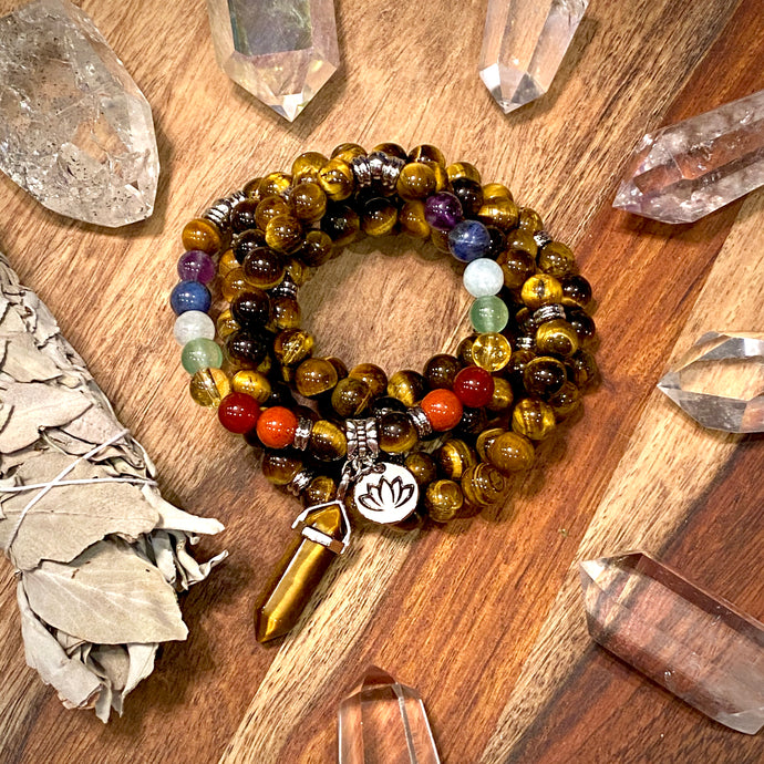 Limited Edition Pride Month & Chakra Balancing Tigers Eye Willpower 108 Mala Necklace Bracelet