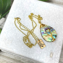 "Load image into Gallery viewer, Tree of Life Teardrop Abalone Shell Wire Wrapped Pendant 18"" Gold Necklace"