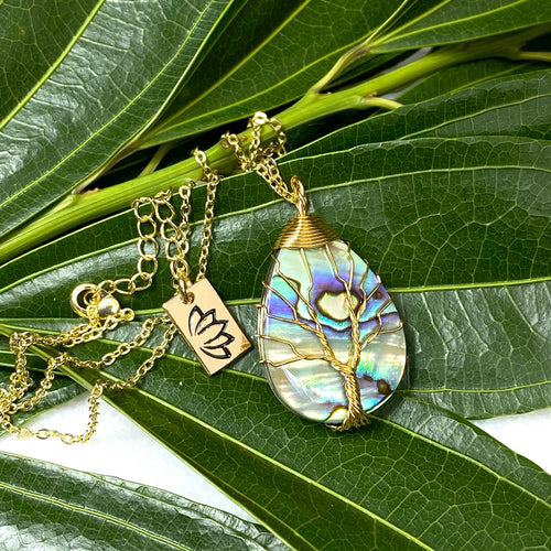 "Tree of Life Teardrop Abalone Shell Wire Wrapped Pendant 18"" Gold Necklace"