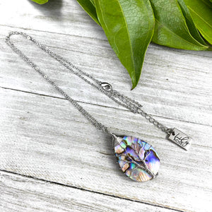 "Tree of Life Teardrop Abalone Shell Wire Wrapped Pendant 18"" White Gold Necklace"