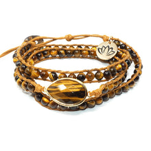 Load image into Gallery viewer, Fierce & Fortunate Tigers Eye Adjustable Leather Wrap Bracelet