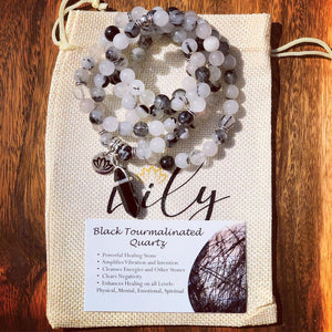 Tourmalinated Quartz Black Tourmaline in Clear Quartz Master Healing 108 Mala Necklace Bracelet