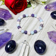 Load image into Gallery viewer, Triple Power Amethyst Rose Quartz Aquamarine Spiritual Awareness Matte 8mm Stretch Bracelet