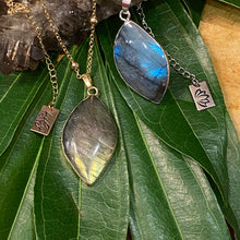 "Load image into Gallery viewer, Dancing Wave Free-form Labradorite Pendant 30"" 24k Gold Dip Edges Necklace"