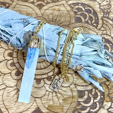 "Load image into Gallery viewer, Moon Goddess Selenite & Kyanite Booster Vertical Raw Pendant 18"" + 2"" Gold Necklace"
