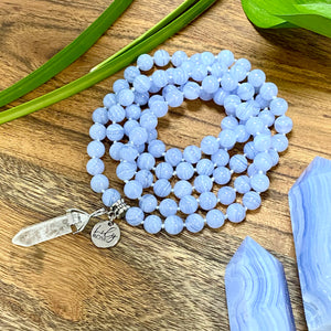 Super Limited Blue Lace Agate Goddess Relaxation 108 Hand Knotted Mala with Point Charm Pendant Necklace