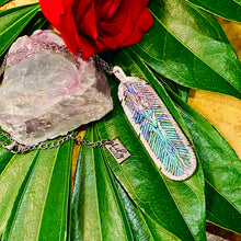 "Load image into Gallery viewer, Natural Luxury Abalone Carved Feather XL Pendant 30"" White Gold Necklace"