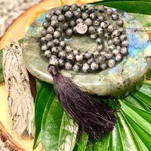 Load image into Gallery viewer, Labradorite Power Protector Shaman Stone 108 Hand Knotted Mala Necklace Bracelet
