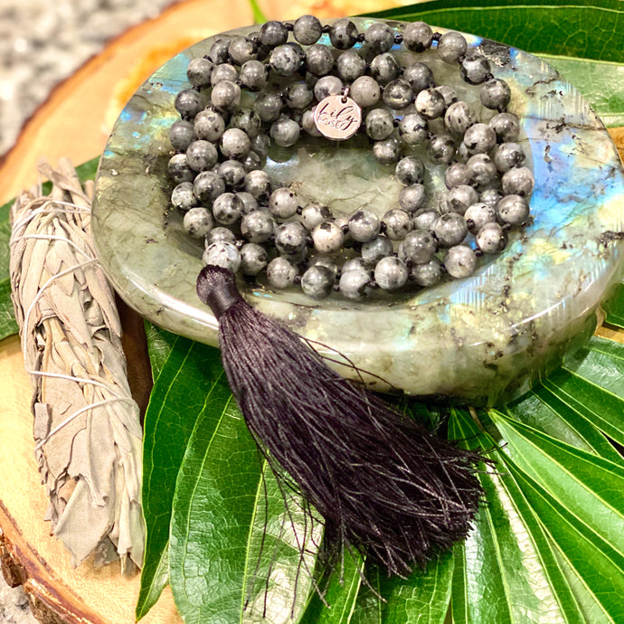 Labradorite Power Protector Shaman Stone 108 Hand Knotted Mala Necklace Bracelet