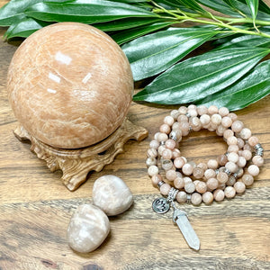 Peach Moonstone Heart Opening & Activation 108 Stretch Mala Necklace Bracelet