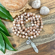 Load image into Gallery viewer, Peach Moonstone Heart Opening & Activation 108 Hand Knotted Mala with Point Charm Pendant Necklace