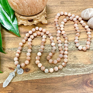 Peach Moonstone Heart Opening & Activation 108 Hand Knotted Mala with Point Charm Pendant Necklace