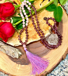 Amethyst & Rose Quartz Love 108 Hand Knotted Mala with Tassel Necklace