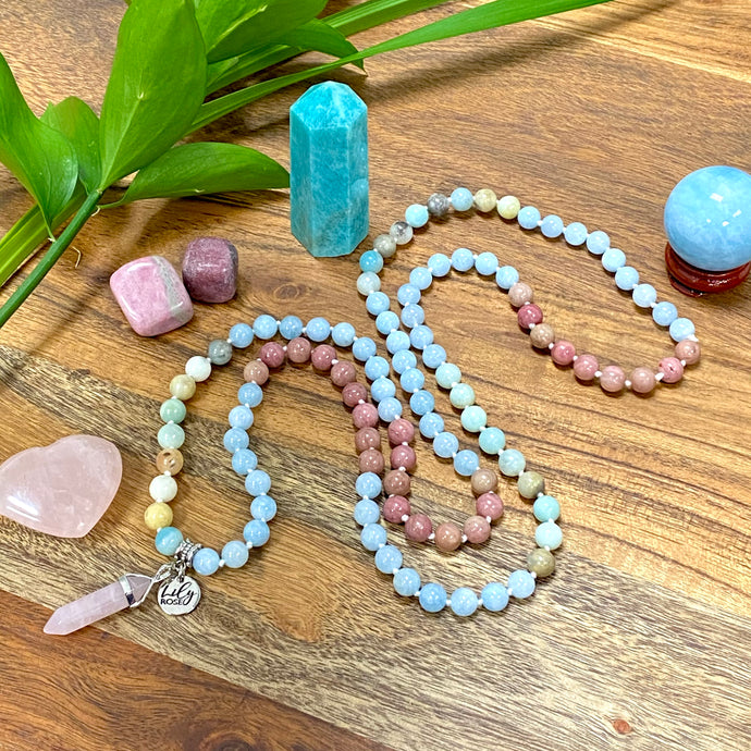 Limited Edition Triple Power Aquamarine, Rhodonite, Amazonite Rebirth Tranquility 108 Hand Knotted Mala with Point Charm Pendant Necklace