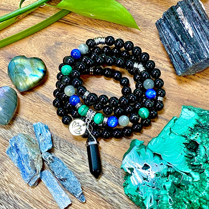 Limited Edition Spirit Master Black Onyx Shungite Malachite Kyanite Labradorite Tourmaline 108 Mala Necklace Bracelet