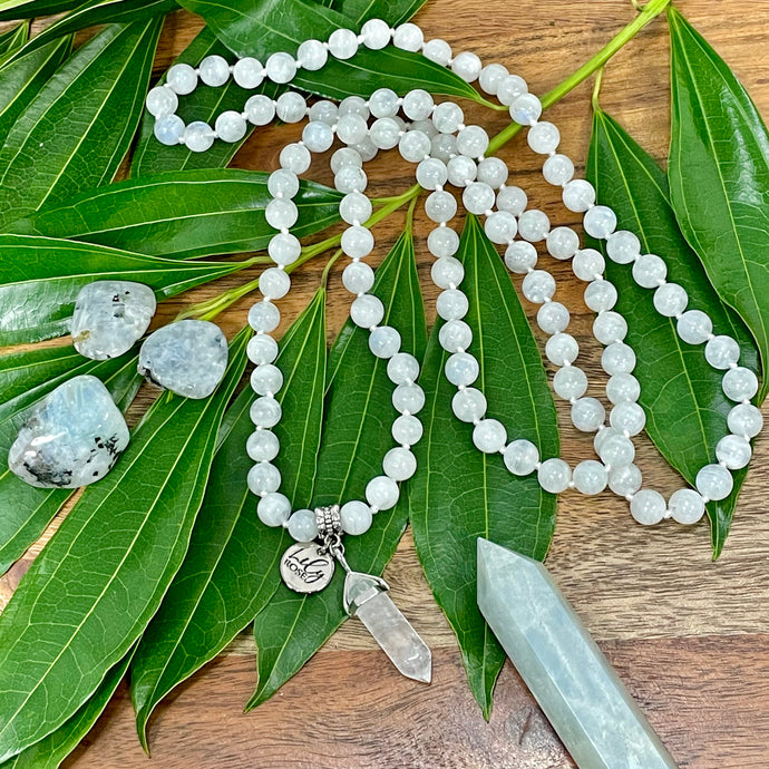 Limited Edition Rainbow Moonstone Miracles & Universal Energy 108 Hand Knotted Mala with Point Charm Pendant Necklace